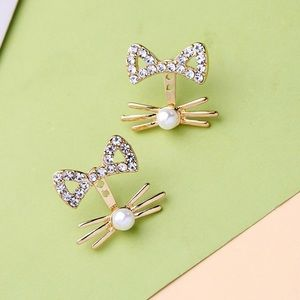 Gold/Crystal Cat Ear Studs w/Whisker Jackets